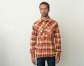 NOS vintage 70s chequered shirt red orange brown beige chest pockets big collars
