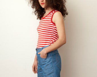 Red and white striped sleeves tank NOS vintage size S / XS
