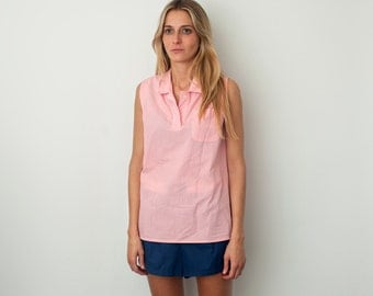 Size S Pink Striped Sleeveless Blouse Dead Stock Vintage