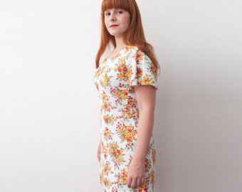 mini dress Floral 70s size M  Dead stock Vintage