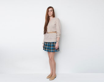 NOS Vintage Pleated Blue Beige Black  plaid mini Skirt size S