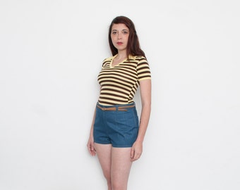 Vintage 70s Yellow and Bown striped tshirt NOS vintage size M