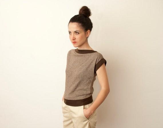 80s brown geometric cut tshirt unworn vintage XS