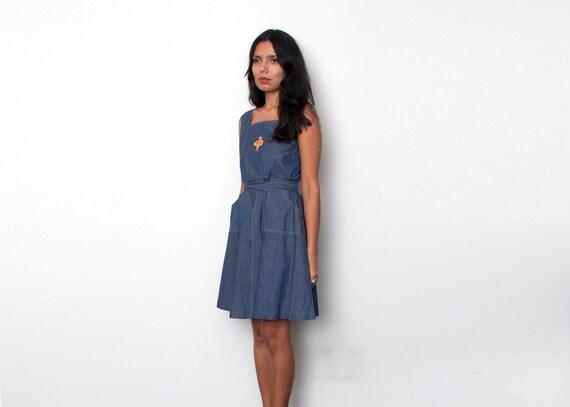 Demin minidress size girls dress XS Dead stock Vintage