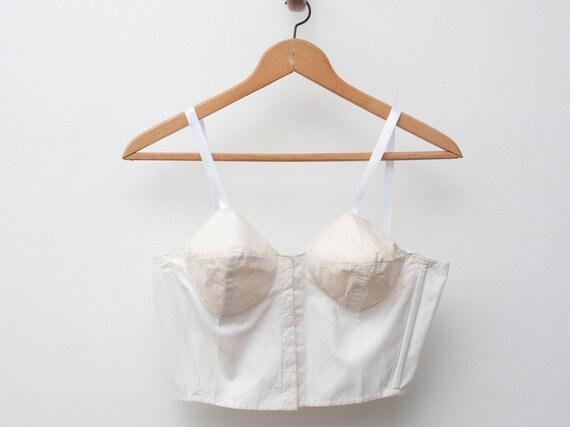 1950 White bullet bra longline bra bombshell dead stock Vintage