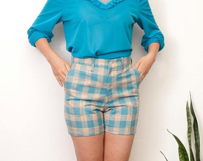 NOS Vintage 60s Blue Beige Plaid Shorts size S