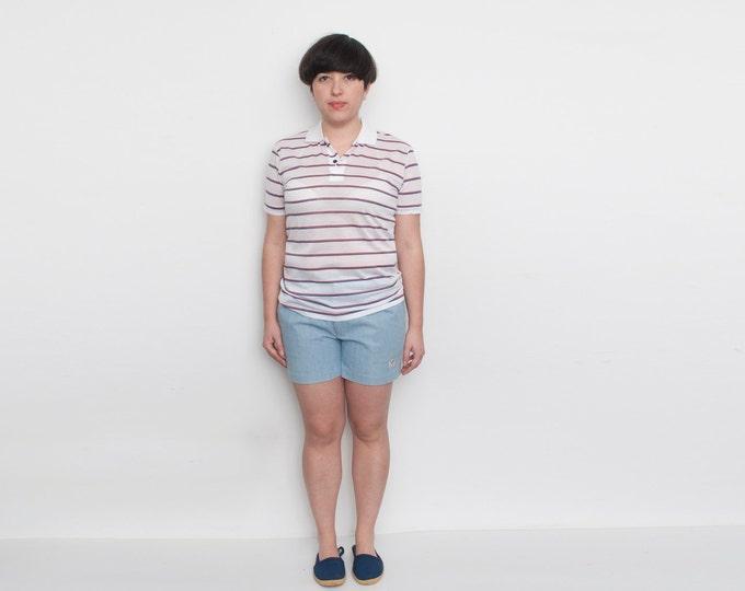 NOS Vintage tennis Shorts light blue washed denim size L