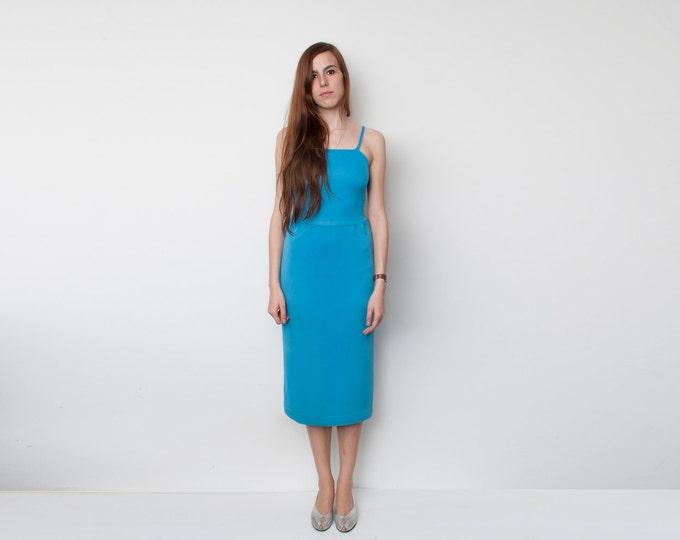 80s Blue Dress pencil skirt NOS Vintage Size S