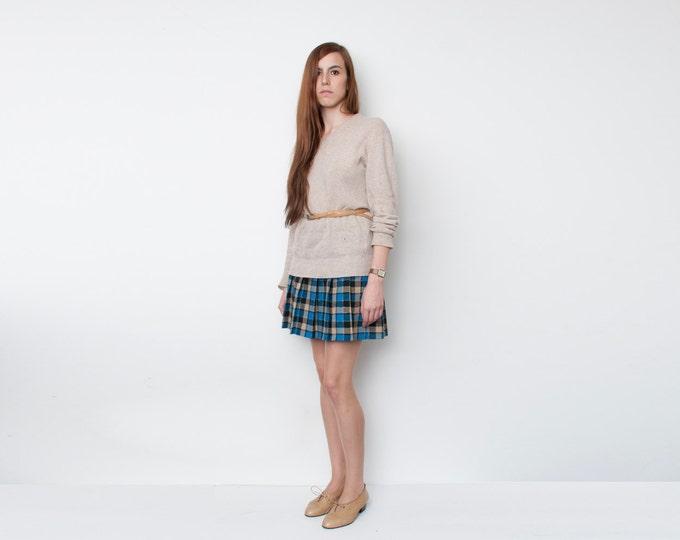 NOS Vintage Pleated Blue Beige Black  plaid mini Skirt size S