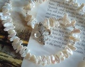 Fleur De Lis Necklace with Beautiful Quality White Biwa Freshwater Pearls - under 75