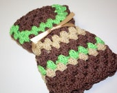 Green and Brown Crocheted Small Blanket