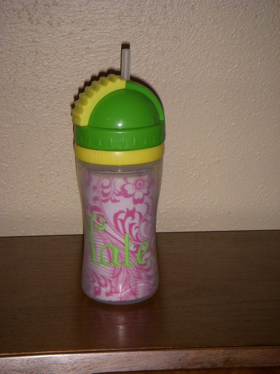 personalized spill proof straw sippy cup