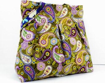 Green Paisly Bag, Large Purse, Shoulder Bag, Book Tote, Gym Carryall, Gift for Her, Gift under 100, Graduation Present, Handmade Bag