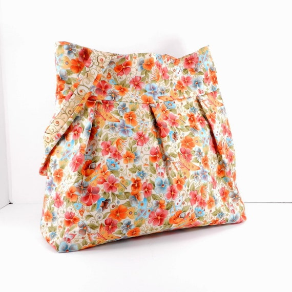 Large Pleated Bag, Coral and Blue, Large Purse, Floral Print