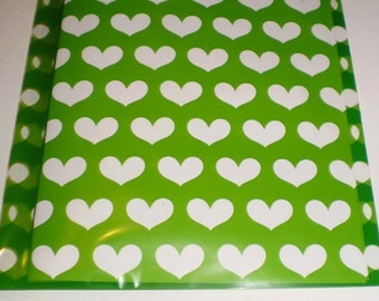 20 - 5x8 Green with Clear Hearts printed Cello BAGS