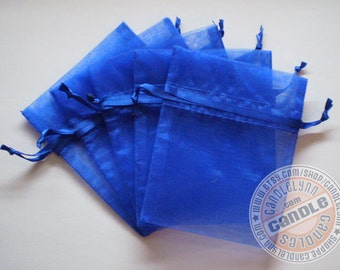 90 ROYAL BLUE 3x4 Sheer Organza Bags - Party favors, jewelry, gifts, sachets and much, much more