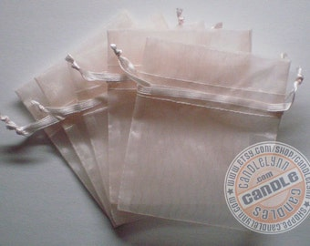 90  LIGHT PINK 3x4 Sheer Organza Bags - Party favors, jewelry, gifts, sachets and much, much more