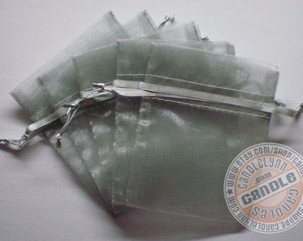 60 LIGHT SILVER 3x4 Sheer Organza Bags - Party favors, jewelry, gifts, sachets and much, much more