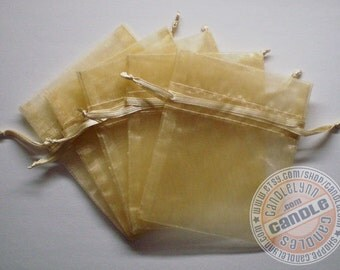 60 TOFFEE 3x4 Sheer Organza Bags - Party favors, jewelry, gifts, sachets and much, much more