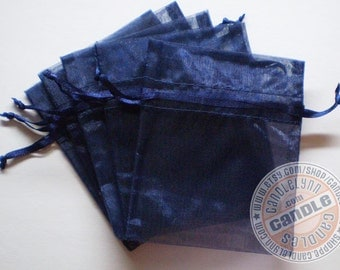 10 NAVY BLUE 3x4 Sheer Organza Bags - Party favors, jewelry, gifts, sachets and much, much more