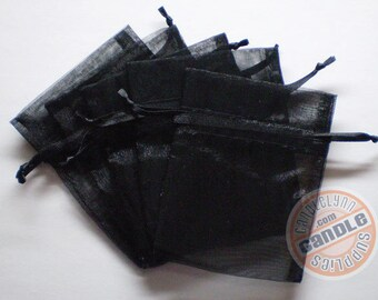 90 BLACK 3x4 Sheer Organza Bags - Party favors, jewelry, gifts, sachets and much, much more