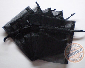 10 BLACK 3x4 Sheer Organza Bags - Party favors, jewelry, gifts, sachets and much, much more