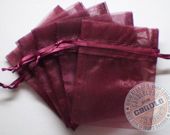 10 WINE 3x4 Sheer Organza Bags - Party favors, jewelry, gifts, sachets and much, much more