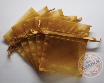 30 GOLD 3x4 Sheer Organza Bags - Party favors, jewelry, gifts, sachets and much, much more