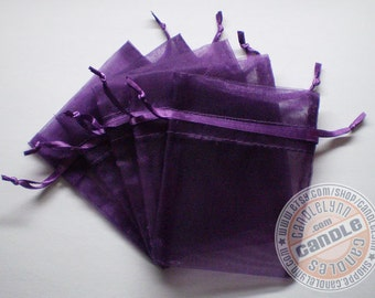 30  PURPLE 3x4 Sheer Organza Bags - Party favors, jewelry, gifts, sachets and much, much more