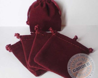 5 Burgundy 2x2-1/2 Flat Velour Bags - Perfect for Jewelry