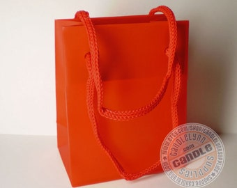 10 Mini Red Tote Bags with Handles