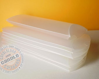 12 Frosted Plastic Pillow Boxes - 4 x 3-3/4 X 1 1/4