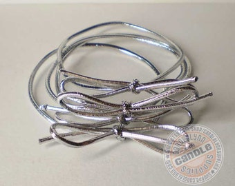 """50 Silver Stretch Loops - 8"""" - Packaging - Gifts - Bow"""