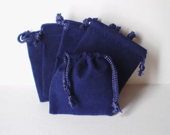 25 Navy Blue 2x2-1/2 Flat Velour Bags - Perfect for Jewelry
