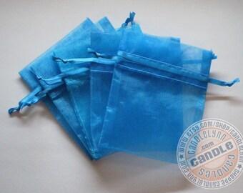 30 TURQUOISE 5x8 Sheer Organza Bags