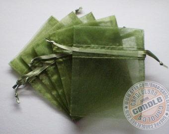30  MOSS GREEN 5x8 Sheer Organza Bags