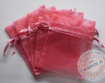 30 ROSE PINK 5x8 Sheer Organza Bags