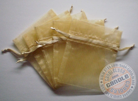 10 TOFFEE 3x4 Sheer Organza Bags - Party favors, jewelry, gifts, sachets and much, much more