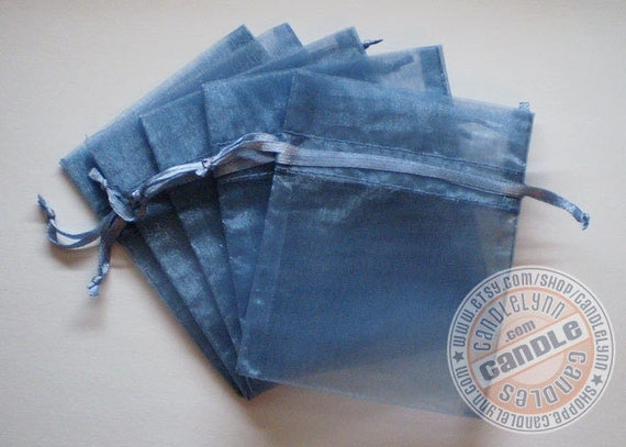 30 SMOKE BLUE 3x4 Sheer Organza Bags - Party favors, jewelry, gifts, sachets and much, much more