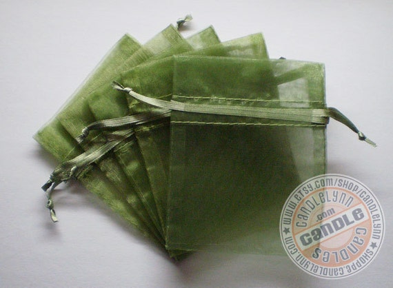 90 MOSS GREEN 3x4 Sheer Organza Bags - Party favors, jewelry, gifts, sachets and much, much more
