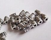 Tibetan Silver Tube Spacer Beads  x10  M106-10