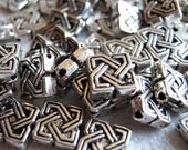 10 Celtic Knot Tibetan Silver Square Beads M134-10