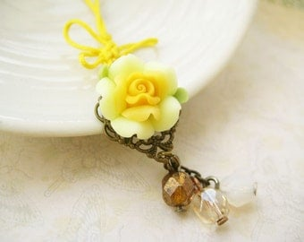LAST ONE Phone/ Dust Plug charm with yellow rose and Chinese knot butterfly - Sunshine