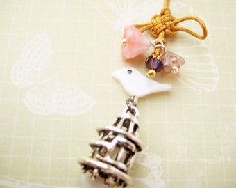 Phone/ Dust Plug charm with Chinese knot, shell bird and glass flowers - Palace Garden