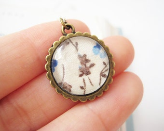 OOAK Long necklace with blue floral round glass pendant - Sea Breeze