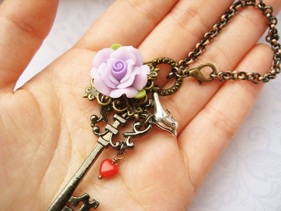 Key chain / zipper pull charm with black key, purple rose and red glass heart - Secrets