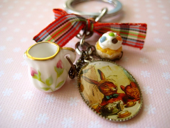 OOAK Alice in Wonderland inspired keyring / keychain - At the Tea Party