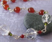 Carnelian and Quartz Sterling Link Necklace