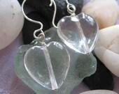 Quartz Crystal Heart Sterling Earrings, Heart earrings, Quartz Crystal earrings