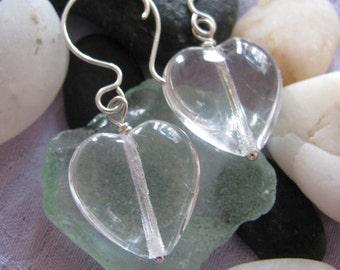 Half Price Quartz Crystal Heart Sterling Earrings, Heart earrings, Quartz Crystal earrings